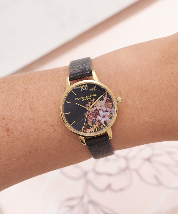 OLIVIA BURTON LONDON  Marble Floral Black & Gold Watch OB16CS11 – Midi Dial Round in Floral Sand and Black - Other view