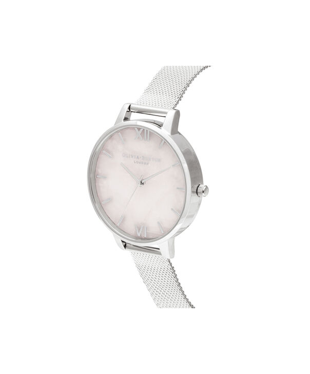 OLIVIA BURTON LONDON Big Dial Rose Quartz & Silver MeshOB16SP18 – Big Dial in Silver and Silver - Side view