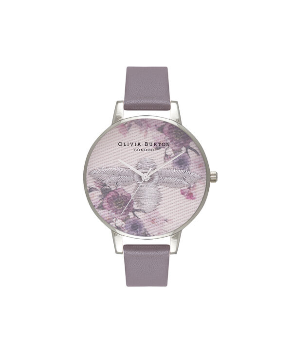 OLIVIA BURTON LONDON  Embroidered Dial 3D Bee London Grey and Silver Watch OB16EM05 – Midi Dial Round in Floral and London Grey - Front view