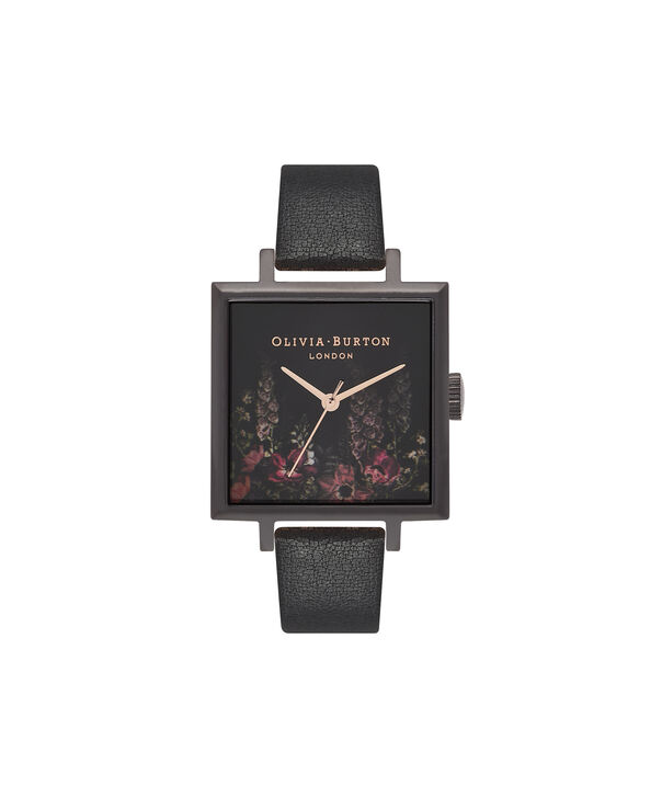 OLIVIA BURTON LONDON  After Dark Floral Big Square Dial Matte Black & Rose Gold Watch OB16AD17 – Big Dial Square in Floral and Black - Front view