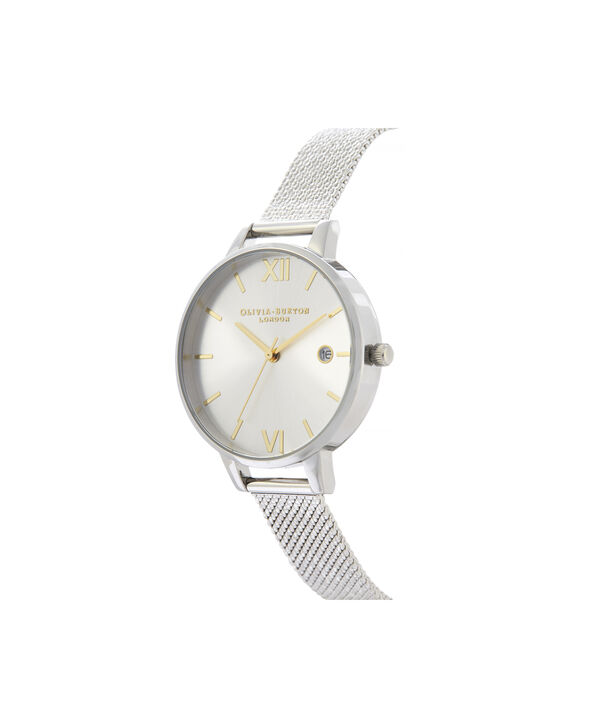 OLIVIA BURTON LONDON Sunray Demi Dial Watch with Boucle MeshOB16DE02 – Demi Dial in silver and Silver & Gold - Side view