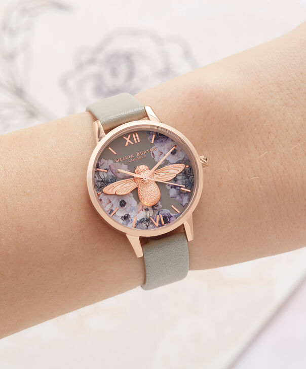OLIVIA BURTON LONDON Watercolour Florals Grey & Rose GoldOB16PP43 – Midi Dial Round in Rose Gold - Other view