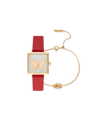 OLIVIA BURTON LONDON 3D Butterfly Gift Set Red & GoldOB16GSET27 – Demi Dial In Red And Gold - Front view