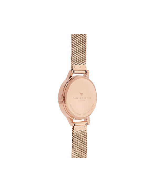OLIVIA BURTON LONDON Abstract Florals Rose Gold Mesh Watch  OB16VM11 – Midi Dial in White and Rose Gold - Back view