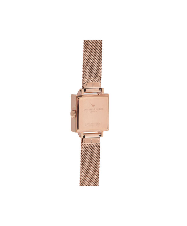 OLIVIA BURTON LONDON  Square Dial 3D Bee Rose Gold Mesh Watch OB16AM132 – Midi Square Grey and Rose Gold - Back view