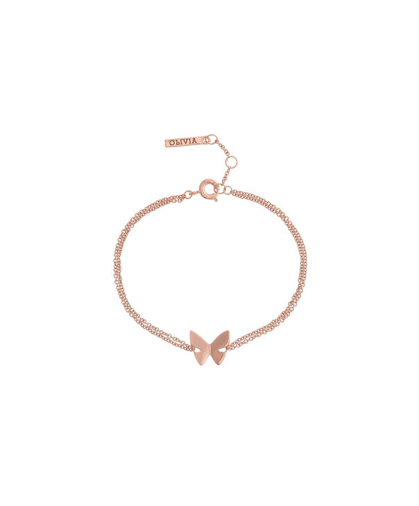 OLIVIA BURTON LONDON Social Butterfly Chain Bracelet Rose Gold OBJ16SBB02 – Social Butterfly Chain Bracelet - Front view