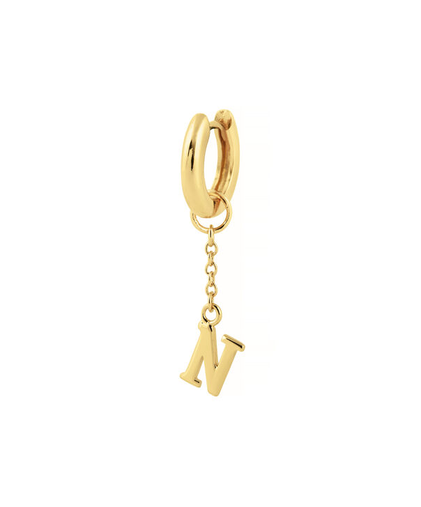 OLIVIA BURTON LONDON  N Alphabet Huggie Charm Gold OBJ16HCGN – Charms - Side view