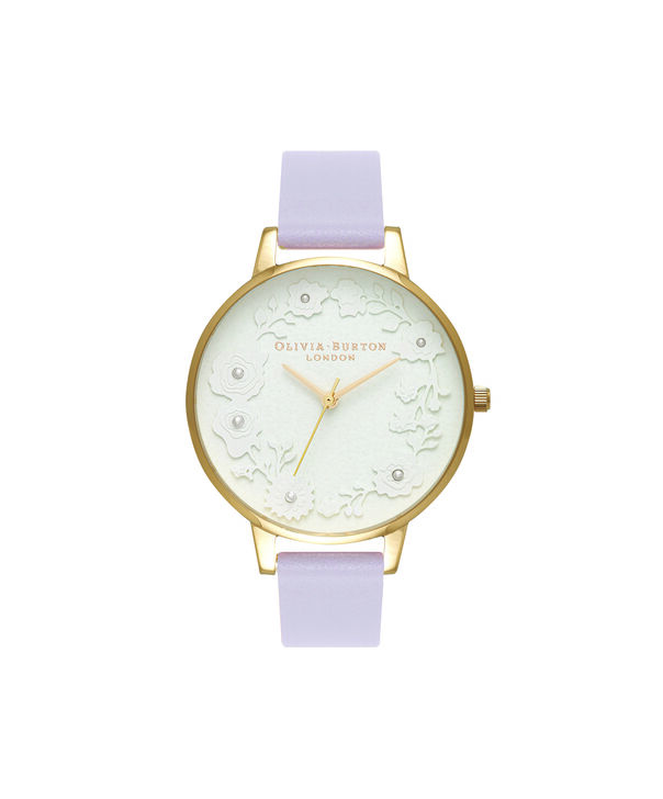 OLIVIA BURTON LONDON  Artisan Dial Parma Violet & Gold OB16AR02 – Big Dial Round in Gold and Parma Violet - Front view