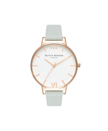 OLIVIA BURTON LONDON  White Dial Sage & Rose Gold OB16BDW36 – Big Dial Round in Rose Gold - Front view