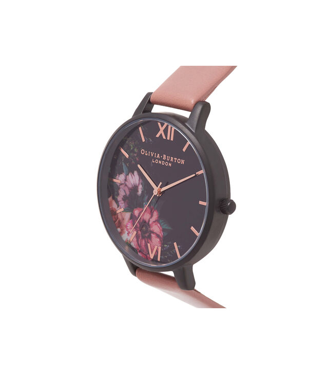 OLIVIA BURTON LONDON  After Dark Floral Matte Black Dial, Rose & Rose Gold Watch OB15FS60 – Big Dial Round in Floral and Rose - Side view