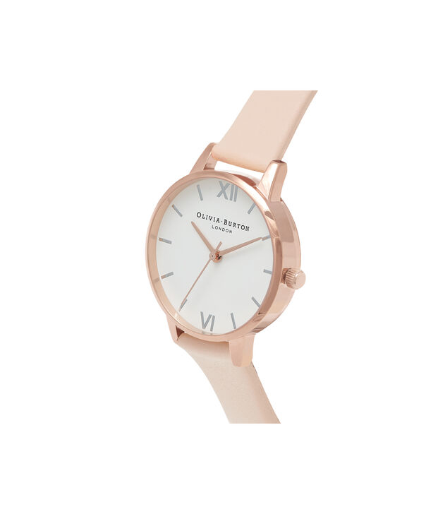 OLIVIA BURTON LONDON  Midi Dial Nude Peach, Silver & Rose Gold Watch OB16MDW21 – Midi Dial Round in White and Peach - Side view