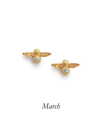 OLIVIA BURTON LONDON Celebration Bee Studs Gold & AquamarineOBJAME97 – Celebration Bee Studs Gold & Aquamarine - Front view