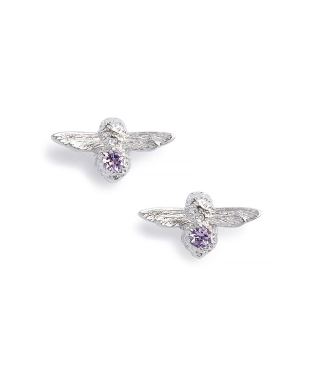 OLIVIA BURTON LONDON Bejewelled Bee Bracelet and Earrings Gift Set Sterling Silver & AmethystOBJGSET01 – Gift Set in Silver - Back view