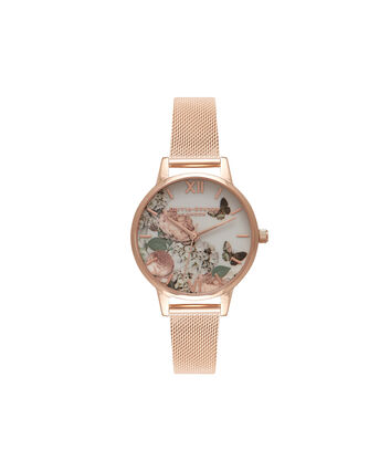 OLIVIA BURTON LONDON Signature FloralsOB16FS91 – Midi Dial in Floral and Rose Gold - Front view