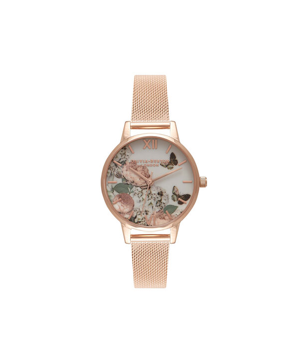 OLIVIA BURTON LONDON  Midi Signature Floral Rose Gold Mesh Watch OB16FS91 – Midi Dial in Floral and Rose Gold - Front view