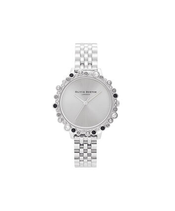 OLIVIA BURTON LONDON Limited Edition Bejewelled Case Watch, Silver BraceletOB16US31 – Bejewelled Case Watch - Front view