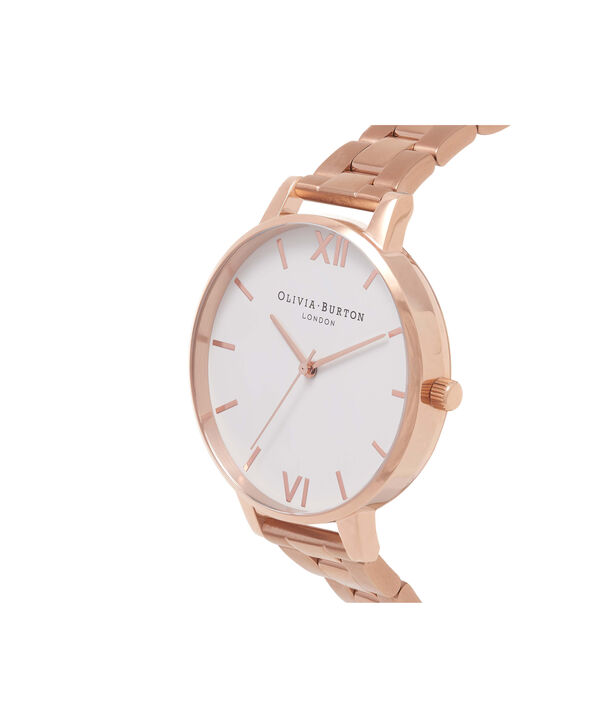 OLIVIA BURTON LONDON  White Dial Bracelet Rose Gold Watch OB16BL33 – Big Dial Round in White and Rose Gold - Side view