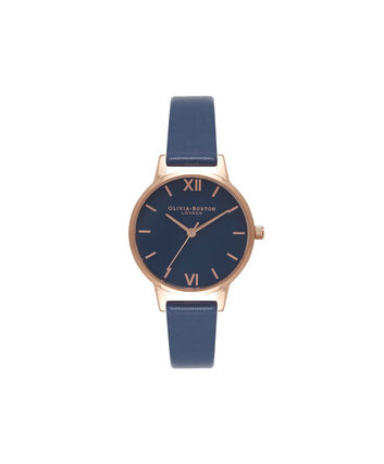 OLIVIA BURTON LONDON Navy DialOB16MD66 – Midi Dial Round in Navy and Navy - Front view
