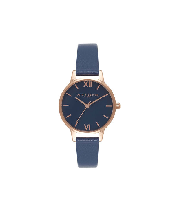 OLIVIA BURTON LONDON  Midnight & Rose Gold Watch OB16MD66 – Midi Dial Round in Navy and Navy - Front view