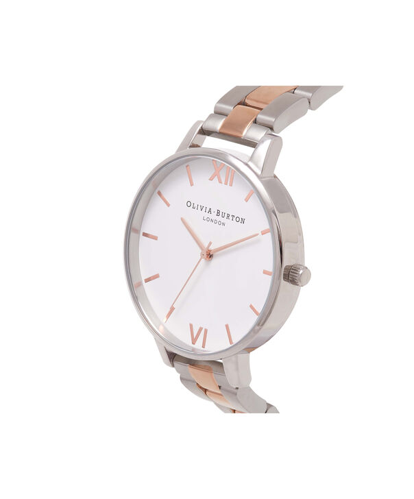 OLIVIA BURTON LONDON White Dial Bracelet Silver & Rose Gold WatchOB16BL32 – Big in White, Rose Gold and Silver - Side view