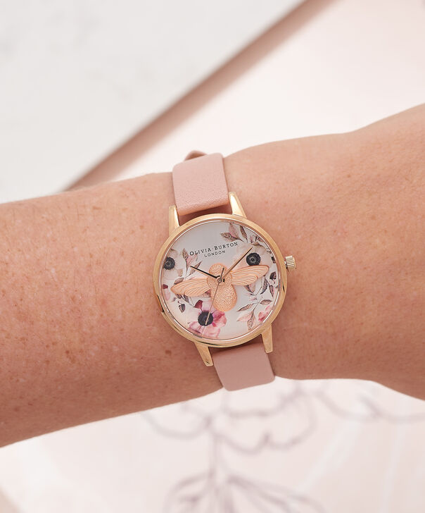 OLIVIA BURTON LONDON Botanical 3D Bee Dusty Pink, Rose Gold WatchOB16AM101 – Midi Dial Round in White and Pink - Other view