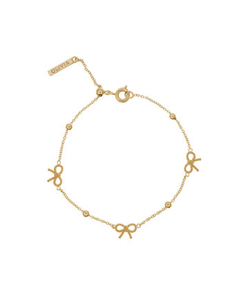 OLIVIA BURTON LONDON  Bow and Ball Bracelet Gold OBJ16VBB08 – Vintage Bow Chain Bracelet - Front view