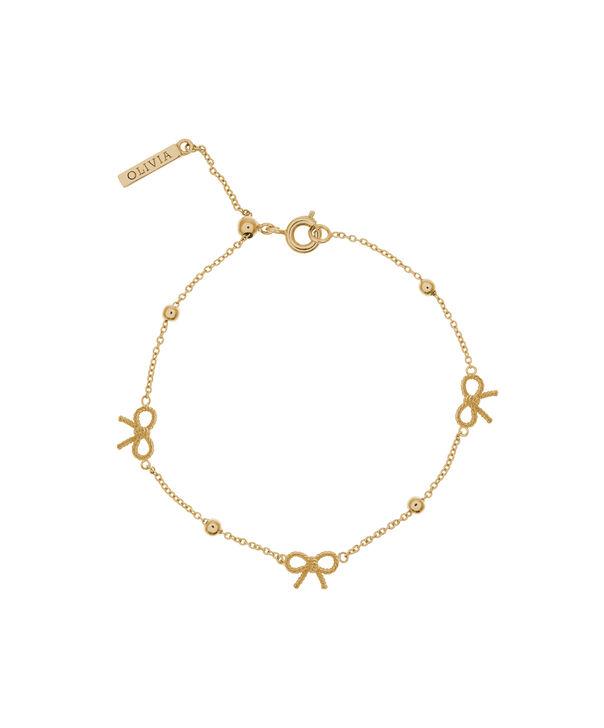 OLIVIA BURTON LONDON  Bow and Ball Bracelet Gold OBJ16VBB08 – Vintage Bow Chain Bracelet - Front view