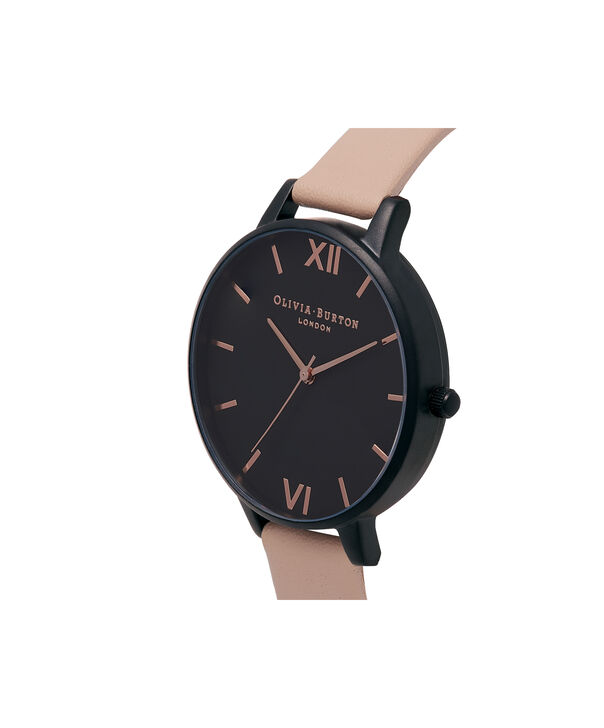OLIVIA BURTON LONDON  After Dark Nude Peach & Ip Black Watch OB16AD25 – Big Dial Round in Black and Peach - Side view