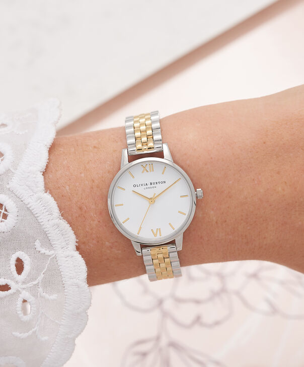 OLIVIA BURTON LONDON  Midi Dial White Dial Gold & Silver Bracelet Watch OB16MDW34 – Midi Dial in White and Silver and Gold - Other view