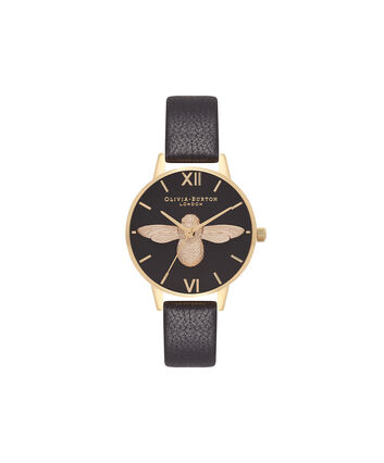OLIVIA BURTON LONDON  Midi 3D Bee Black & Gold Watch OB16AM118 – Midi Dial Round in Black - Front view