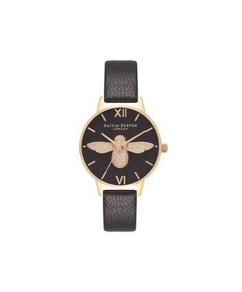 OLIVIA BURTON LONDON  Midi 3D Bee Black & Gold Watch OB16AM118 – Midi Dial Round in Black - Front view