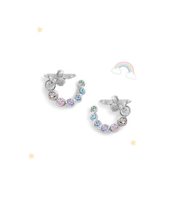 OLIVIA BURTON LONDON Rainbow Bee Swirl Hoop Earrings SilverOBJAME133 – Earrings in Silver - Front view