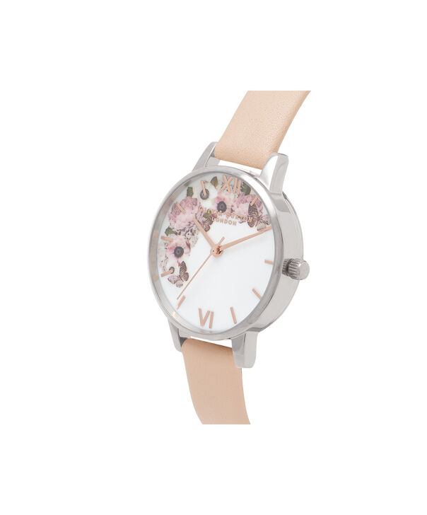 OLIVIA BURTON LONDON  Midi Signature Floral Nude Peach, Silver & Rose Gold Watch OB16EG75 – Midi Dial in White Floral and Peach - Side view