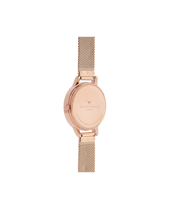 OLIVIA BURTON LONDON  Midi Enchanted Garden Bee Blooms Rose Gold Mesh Watch OB16EX90 – Midi Dial in White and Rose Gold - Back view