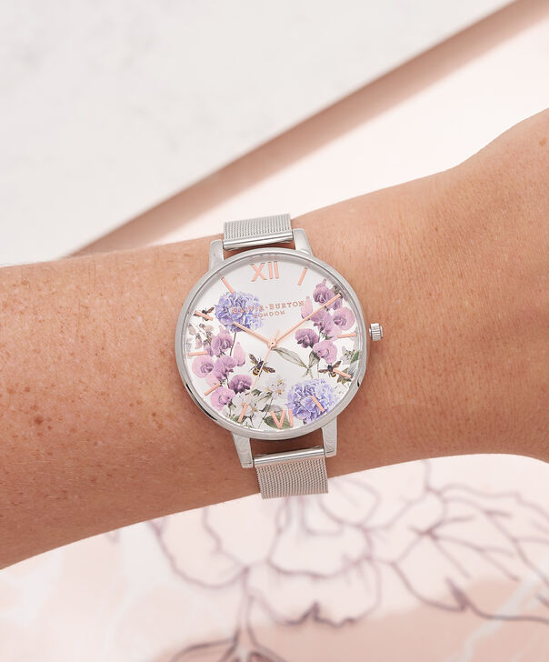 OLIVIA BURTON LONDON  Parlour Bee Blooms Rose Gold & Silver Mesh Watch OB16PL34 – Big Dial in Parlour Floral and Silver - Other view