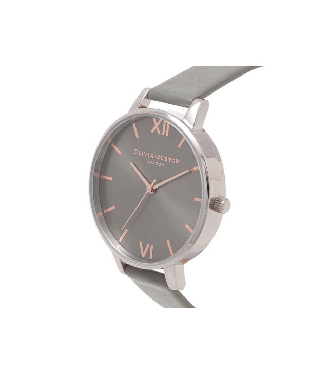 OLIVIA BURTON LONDON  Big Dial Grey And Rose Gold Watch OB16BD90 – Big Dial Round in Grey - Side view