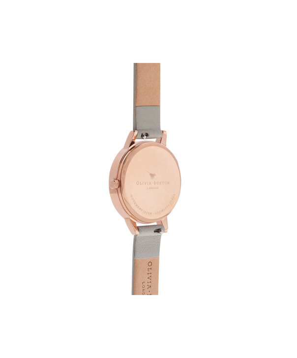 OLIVIA BURTON LONDON  Painterly Prints Grey & Rose Gold Watch OB16PP22 – Midi Dial in White Floral and Grey - Back view