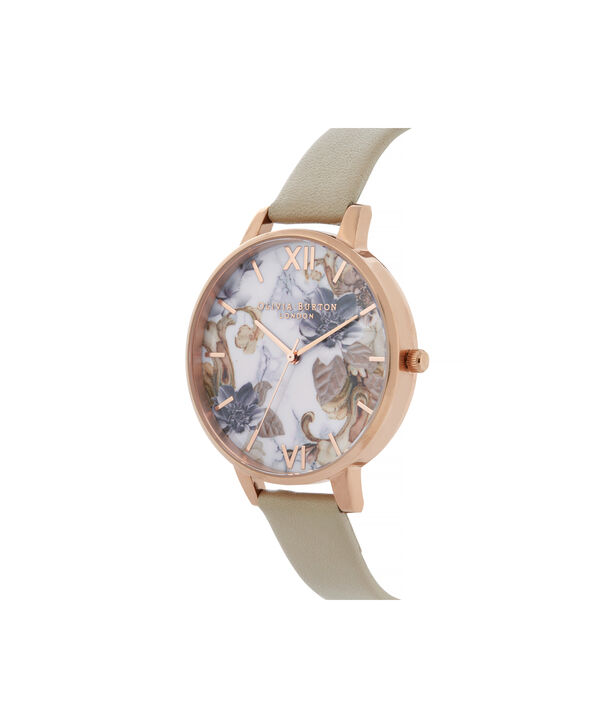 OLIVIA BURTON LONDON Marble Florals Big Dial WatchOB16CS17 – Big Dial in Brown and Rose Gold - Side view