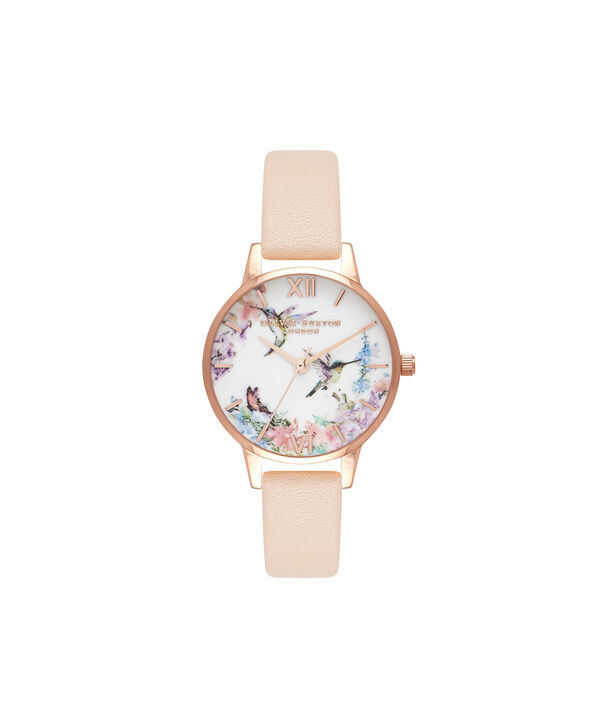 OLIVIA BURTON LONDON  Painterly Prints Nude Peach & Rose Gold Watch OB16PP20 – Midi Dial in White Floral and Nude Peach - Front view