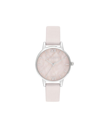OLIVIA BURTON LONDON Midi Rose Quartz Blossom & SilverOB16SP19 – Midi Dial in Blossom and Silver - Front view