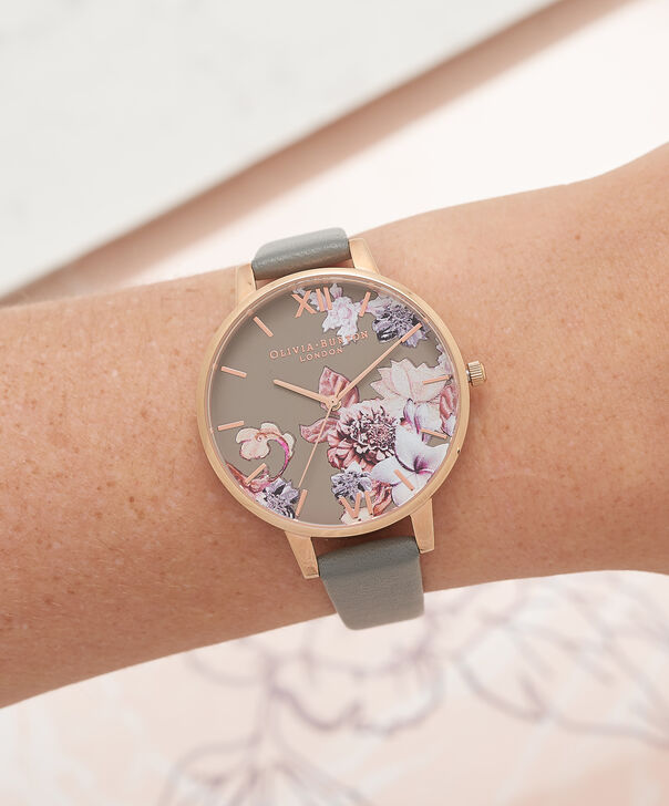 OLIVIA BURTON LONDON  Marble Floral Dark Grey & Rose Gold Watch OB16CS08 – Big Dial in Floral and Dark Grey - Other view