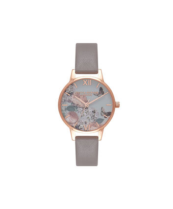 OLIVIA BURTON LONDON  Midi Signature Floral London Grey & Rose Gold Watch OB16EG67 – Midi Dial Round in Floral and Grey - Front view