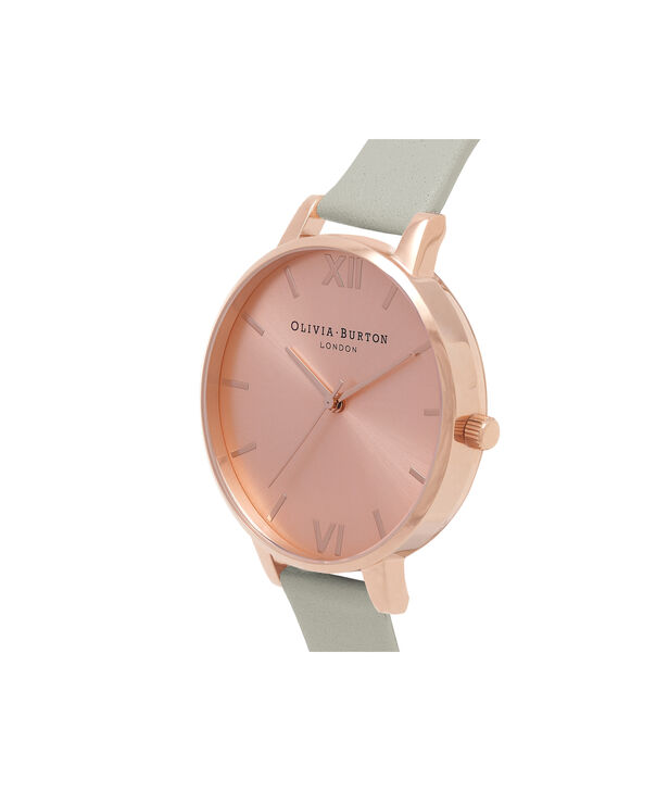 OLIVIA BURTON LONDON  Big Dial Grey & Rose Gold Watch OB16BD98 – Big Dial Round in Rose Gold and Grey - Side view