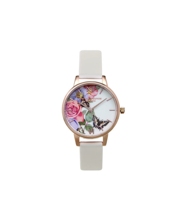 OLIVIA BURTON LONDON  Enchanted Garden Blush & Rose Gold Watch OB15FS68 – Big Dial Round in Rose Gold and Blush - Front view