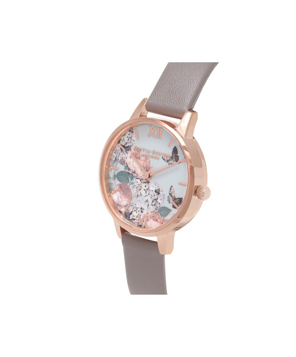 OLIVIA BURTON LONDON  Midi Signature Floral London Grey & Rose Gold Watch OB16EG67 – Midi Dial Round in Floral and Grey - Side view
