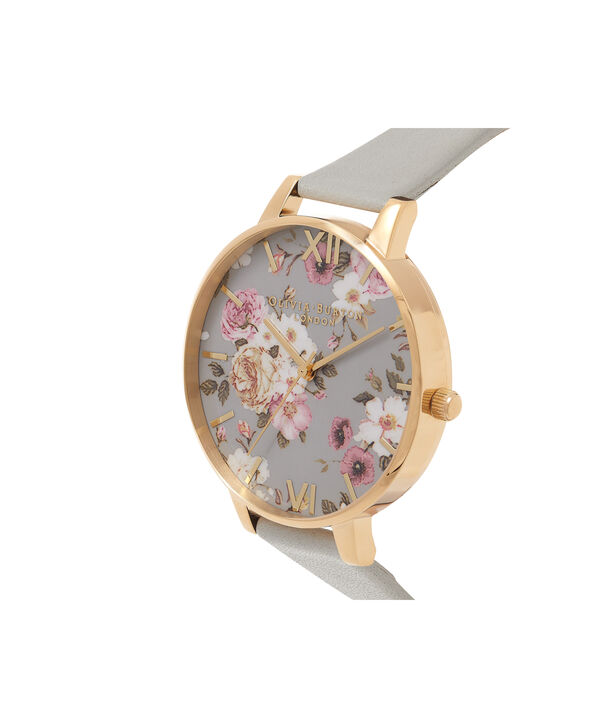OLIVIA BURTON LONDON  Flower Show Big Dial Grey & Gold Watch OB16FS81 – Big Dial in Grey Floral and Grey - Side view
