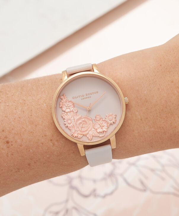 OLIVIA BURTON LONDON  3D Bouquet Blush & Rose Gold Watch OB16FS85 – Big Dial Round in Blush - Other view