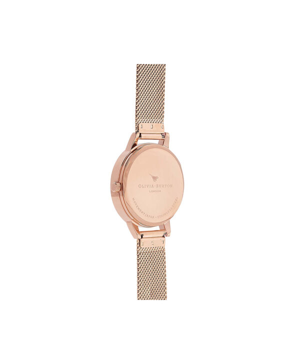 OLIVIA BURTON LONDON  Midi Signature Floral Rose Gold Mesh Watch OB16FS91 – Midi Dial in Floral and Rose Gold - Back view