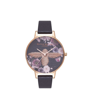 OLIVIA BURTON LONDON 3D Bee Embroidered DialOB16EM02 – Big Dial Round in Floral and Black - Front view