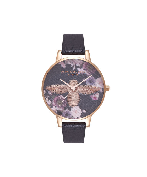 OLIVIA BURTON LONDON  Embroidered Dial 3D Bee Black and Rose Gold Watch OB16EM02 – Big Dial Round in Floral and Black - Front view